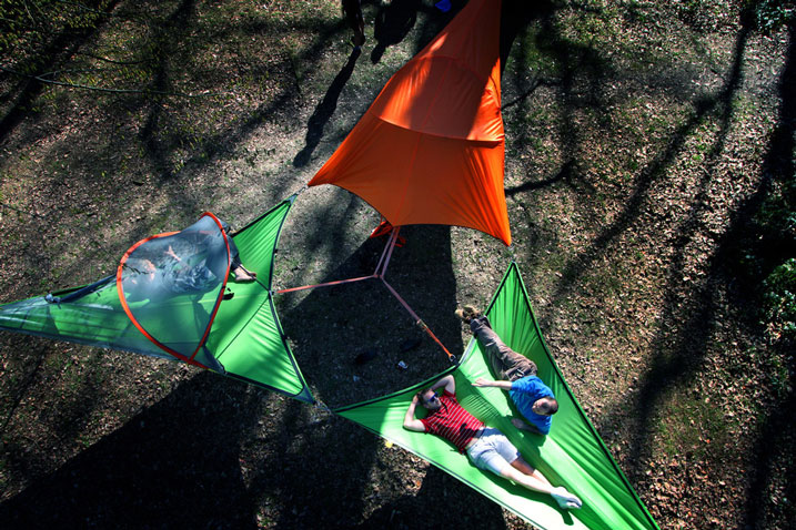Three Tentsile Connect Hanging Tents tied together